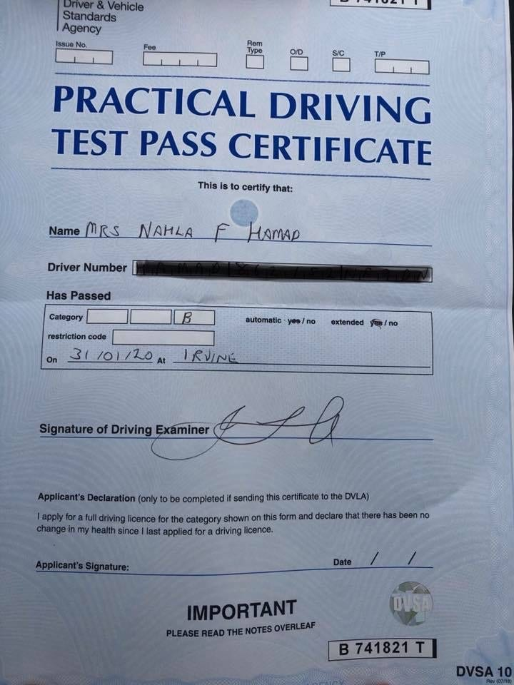 Saltcoats Driving Lessons test pass - Nahla Hamad